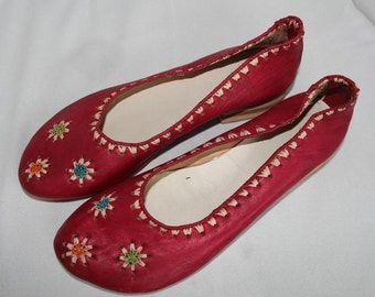 Handmade moroccan shoes leather woman red colour Size 42