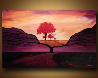 Large Abstract Painting, Abstract Tree, Red Tree, Original Painting, Abstract landscape, Sunset Painting, Home Decor, Purple Painting