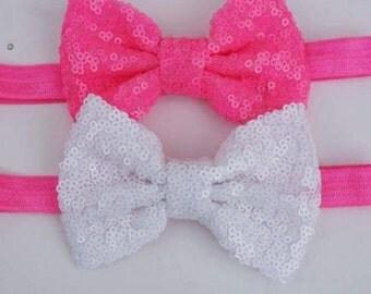 Hot Pink Sequin Bow headband