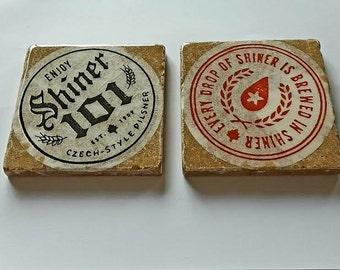 2 Stone Shiner Beer Coasters
