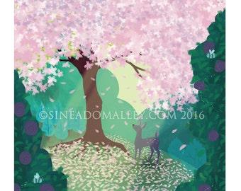 Blossom Deer Limited Edition Illustration Print