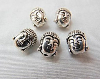 Clearance! 5 Silver Buddha Head Beads Spacers - Buddhism -  #182