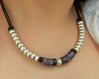 Women leather necklace,leather necklace,Amethyst gemstone Necklace,beaded necklace,leather cord necklace,silver plated,CI009