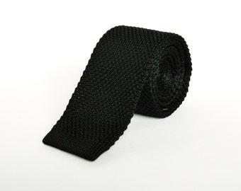 Mens Knitted Black Tie. Skinny Tie Wedding Tie Mens Gift