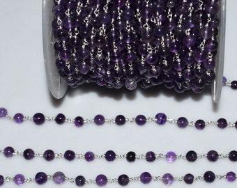 Beautiful Natural Amethyst Plain Smooth Rosary Beaded Chain-Amethyst Plain Smooth Round Chain , 5.50-6 mm - RB5259
