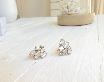 Statement Earrings Clear Colored Rhinestones Big Vintage Earring Studs in Antique Gold Timeless Jewelry