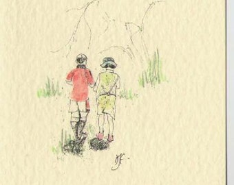 Greeting card, pen drawing  walking, woods,  blank, water colour, any occasion, birthday, mothers day, brother, sister, son, daughter