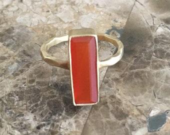 Rectangle Natural Carnelian Ring Carnelian Stacking Ring Bezel Set 14K Gold Vermeil Matte Ring SIZE 6