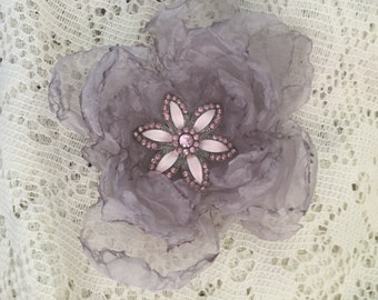 Silver Gray Fabric Flower Pin Hairpiece with Vintage Pink Flower Centerpiece