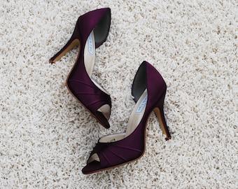 Berry Pumps, Deep Purple High Heels, Peeptoe Bridal or Bridesmaids Shoes, Custom Wedding Shoes, Purple Wedding Shoes