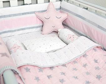 Sleepy Star-Organic Crib Bedding Set, Baby Bedding Set, Baby Blanket, Baby Bedding, Baby Crib, Star Crib Set, Baby Girl Crib, Star Bedding