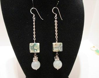 Jasper and pale blue crystal earrings