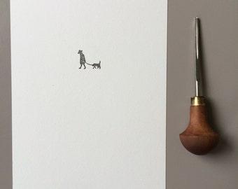 The walk - limited edition handprinted linoprint