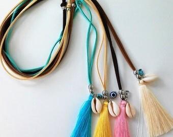 Collar tira de ante y borla de seda-Collar boho-Silk Tassel suede cord necklace-boho necklace-handmade jewelry-Protection necklace-Hippie