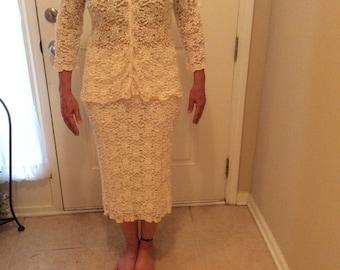 Carole Little Vintage Ivory Stretch Lace Suit