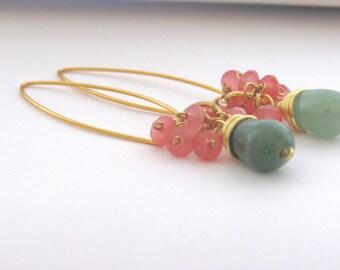 Pink jade Earrings, jade Earrings,Pink Green earrings,gemstone dangle earrings, gift women,gift for her,bridesmaid gift