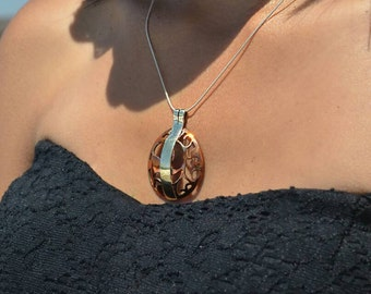 One of a Kind Handcrafted and Signed Sterling Silver and Hand Pierced Copper Pendant Necklace
