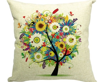 Tree of Life Linen Throw Pillow 18 inch x 18 inch