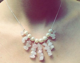 Rose Quartz and Freshwater Pearl Sterling Silver Necklace