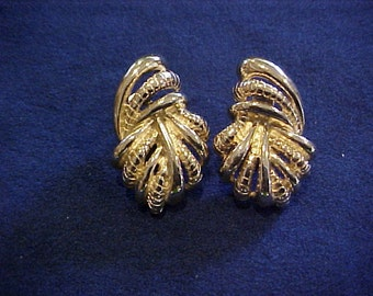 GIVENCHY Gold Tone Sculpted Pierced Earrings with Clip Back