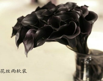 Free shipping 20pcs black Calla Lily Bouquet, Cobalt Flowers, Real Touch Calla Lilies Ma34