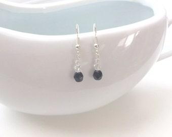 Black and Crystal Beaded Earrings