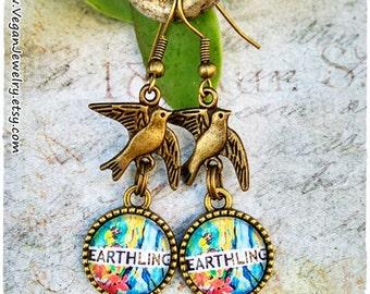 Earthling Earrings Vegan jewelry Gift Vegan message spread the word Veganism Vegetarian Veg