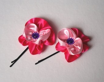 Satin Flower Hair Bobby Pin (Set of 2)