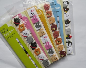 Set of 4 Cute Cartoon Animals Sticky Memo Pads / Sticky Notes / Post it Notes / Penguin,Bear,Cat,Rabbit