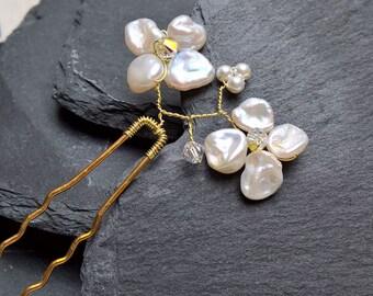 Bridal hair pins, decorative pearl hair pins, bridal hairpins, wedding hair accessories, wedding hair pins, bridal hair flower, keishi pearl
