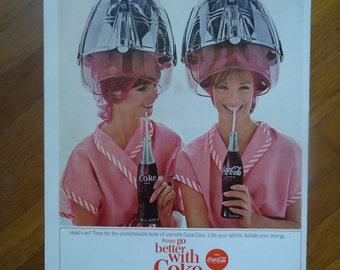 Vintage 1960s Coca Cola Advertising - Coke advertising - Magazine advertisment - Rustic decor - Vintage decor, Classic Coca Cola, Twin girls