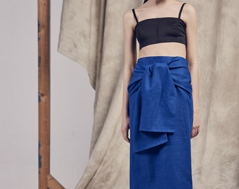 Long PURE LINEN blue SKIRT