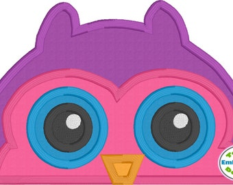Owl Peeker Applique Machine Embroidery Design