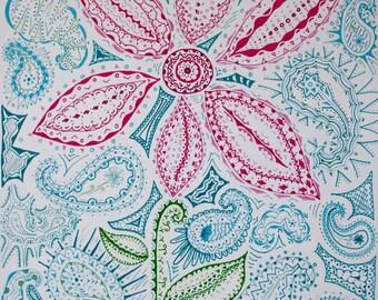 Paisley Flower Print