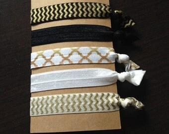 Black and Gold Elegant Hair Ties