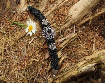 Black Beaded Flower Bracelet // Adoption Fundraiser