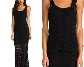 Elegant long black dress crochet / custom