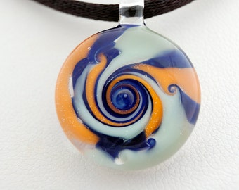 Glass jewelry necklace, hand blown glass pendant necklace, swirl glass pendant, unique pendant for her