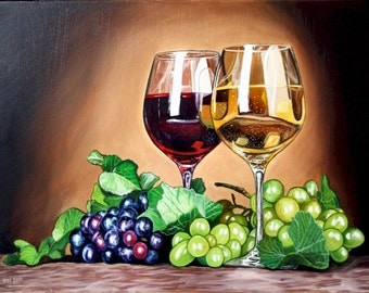 Photorealistic oil painting of wine glasses