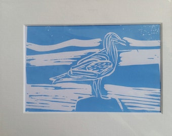 Sea gull on a rock Original linocut print