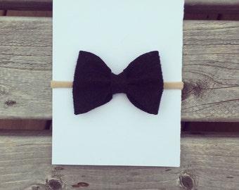 Midnight black felt bow