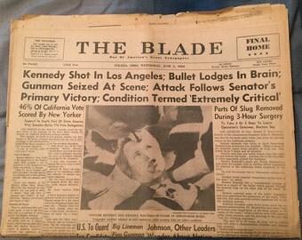 The Toledo Blade Newspaper - RFK Shot - June 5, 1968