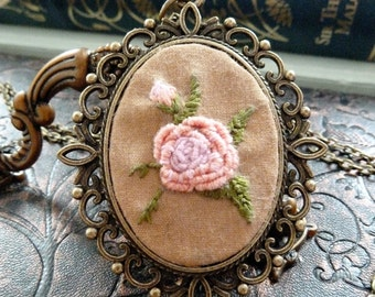 Rose Embroidered Frame Necklace in Antique Bronze