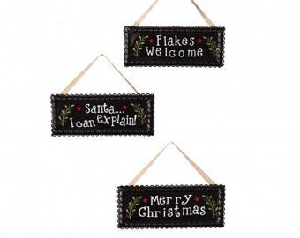 Christmas Iron Signs w/Lace Border