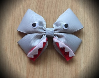 Jaws Shark Character Inspired Grey Hair Bow