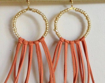 Gold Bead and Orange Leather Fringe Earrings