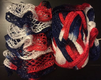 Red/White/Blue Knitted Ruffle Scarf