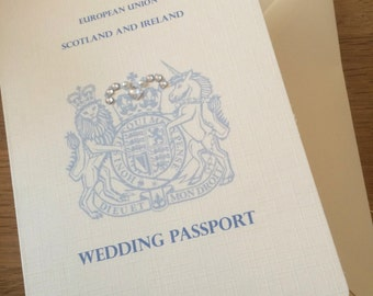 Passport Wedding Invitation (diamanté/pearl/blue)