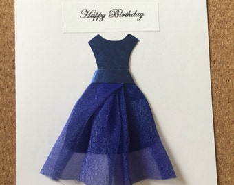 Blue chiffon dress birthday card