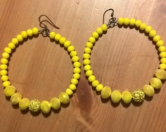 Yellow crystal ball and hoop earrings with Rhinestones
